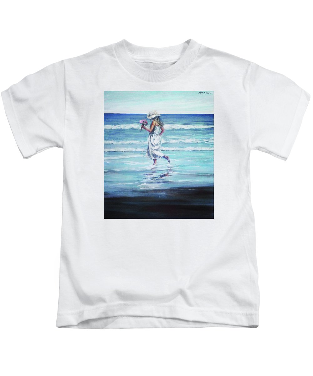 Seascape Kids T-Shirt featuring the painting Sea Walk by Natalia Tejera