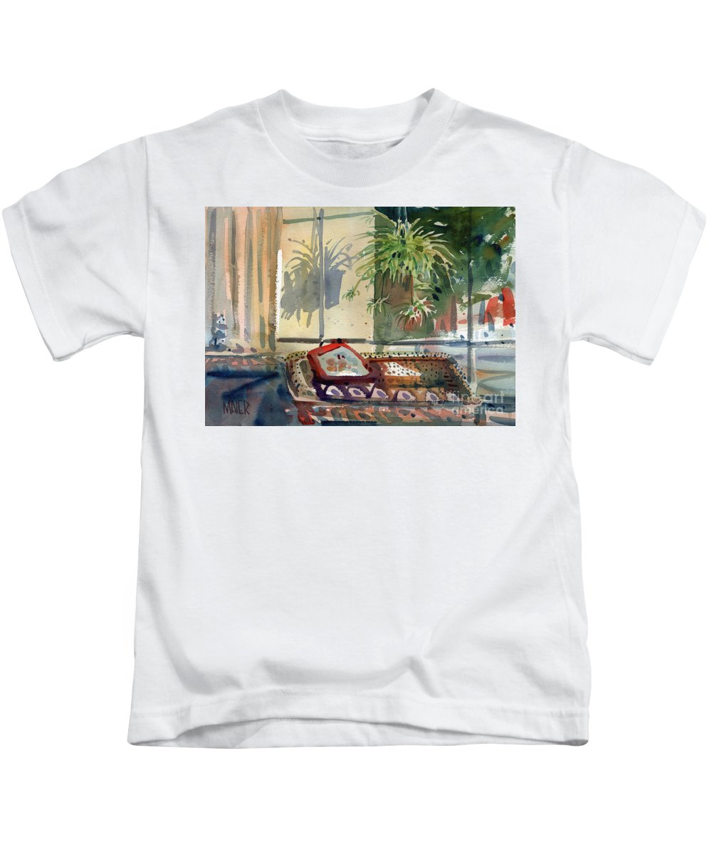 Spider Plant Kids T-Shirt featuring the painting Spider Plant In The Window by Donald Maier