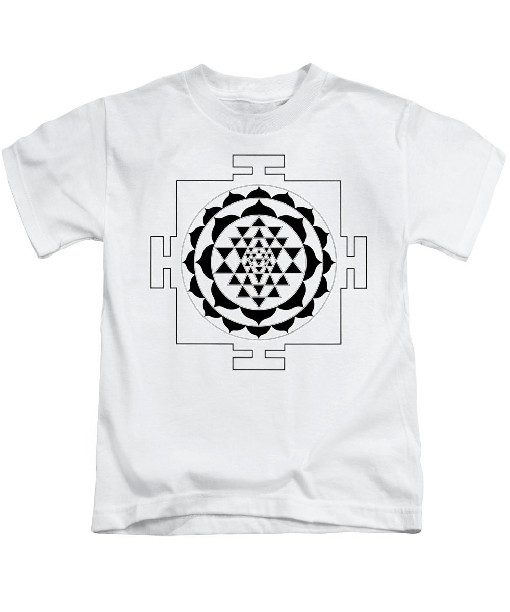 Ink Drawing Kids T-Shirt featuring the drawing Sri Yantra by Lee Santa