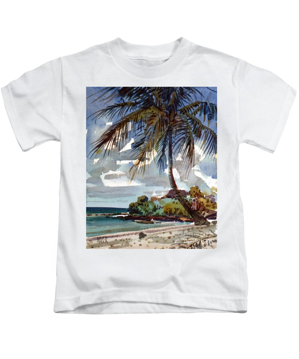 St. Croix Kids T-Shirt featuring the painting St. Croix Beach by Donald Maier