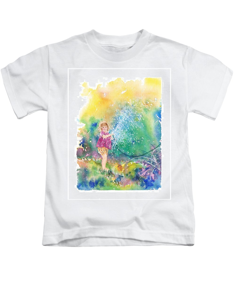 Children Kids T-Shirt featuring the painting Summer Fun by Gale Cochran-Smith