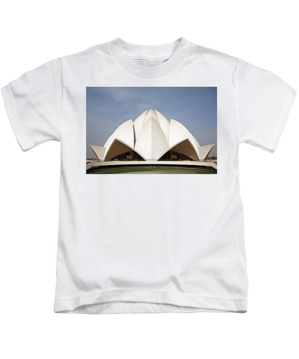 Lotus Temple Kids T-Shirt featuring the photograph The Lotus Temple In New Delhi by Aivar Mikko