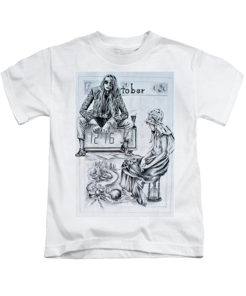 Graphite Pencil Kids T-Shirt featuring the drawing Time Between Women by Linda Shackelford