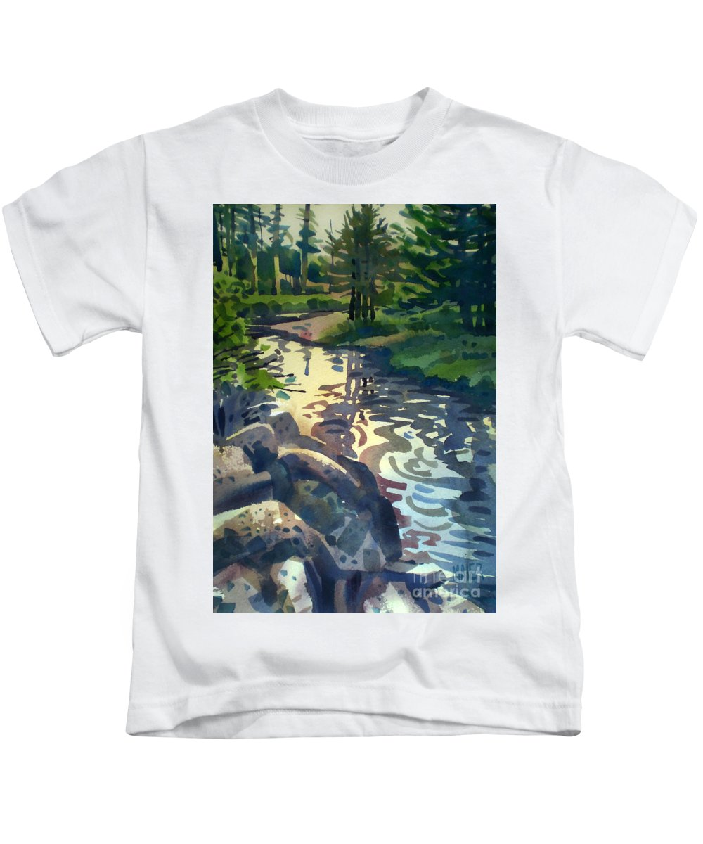Stream Kids T-Shirt featuring the painting Up With The Fishes by Donald Maier