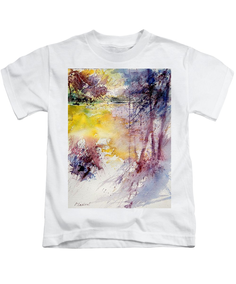 River Kids T-Shirt featuring the painting Watercolor 040908 by Pol Ledent