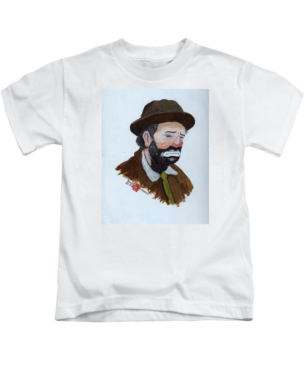 Weary Willie The Clown Kids T-Shirt featuring the painting Weary Willie The Clown by Arlene Wright-Correll