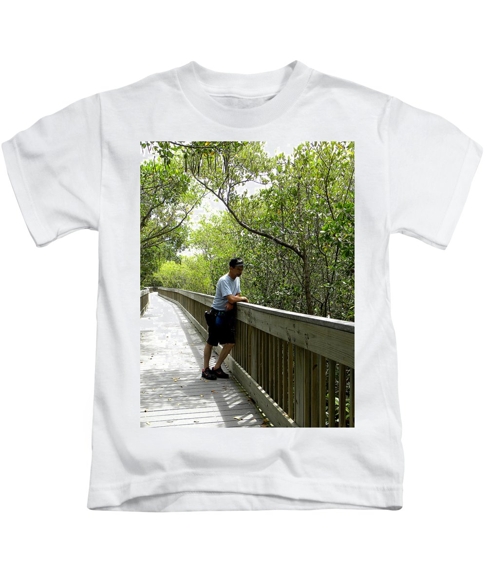 Weedon Island Kids T-Shirt featuring the photograph Weedon Island Boardwalk by Chris Mercer