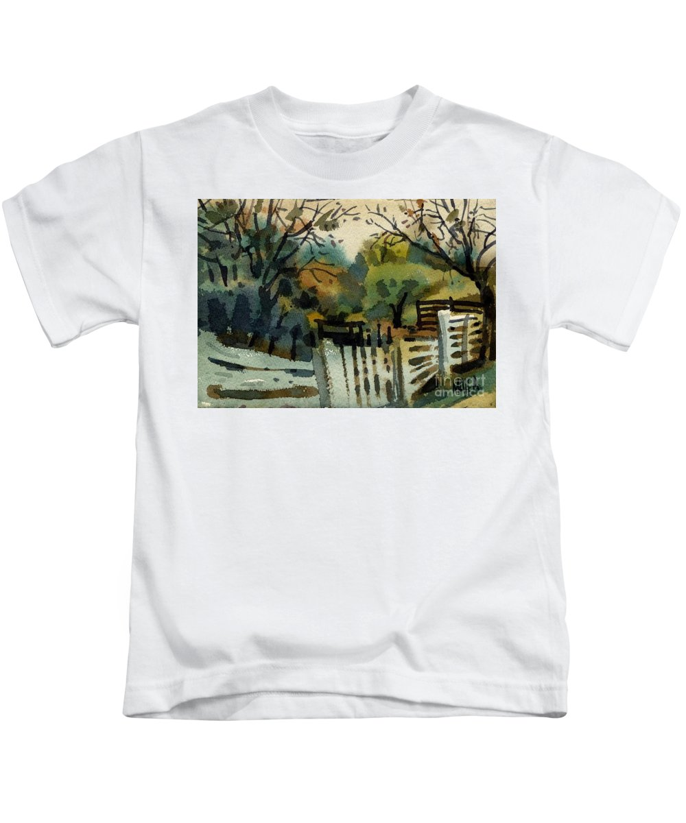 White Fence Kids T-Shirt featuring the painting White Fence by Donald Maier