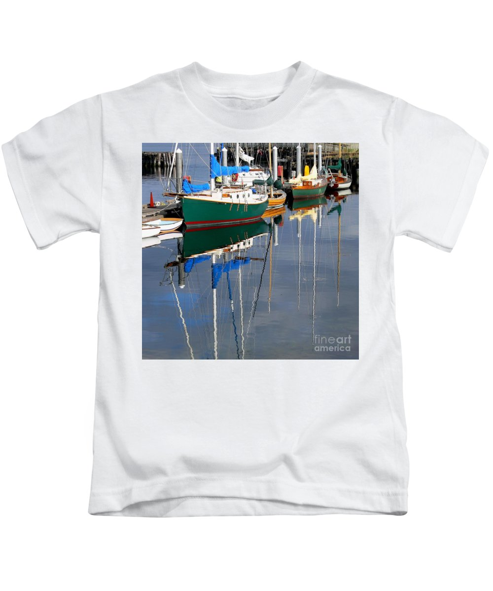 Wooden Boats-boats Kids T-Shirt featuring the photograph Wooden Ships On The Water by Scott Cameron