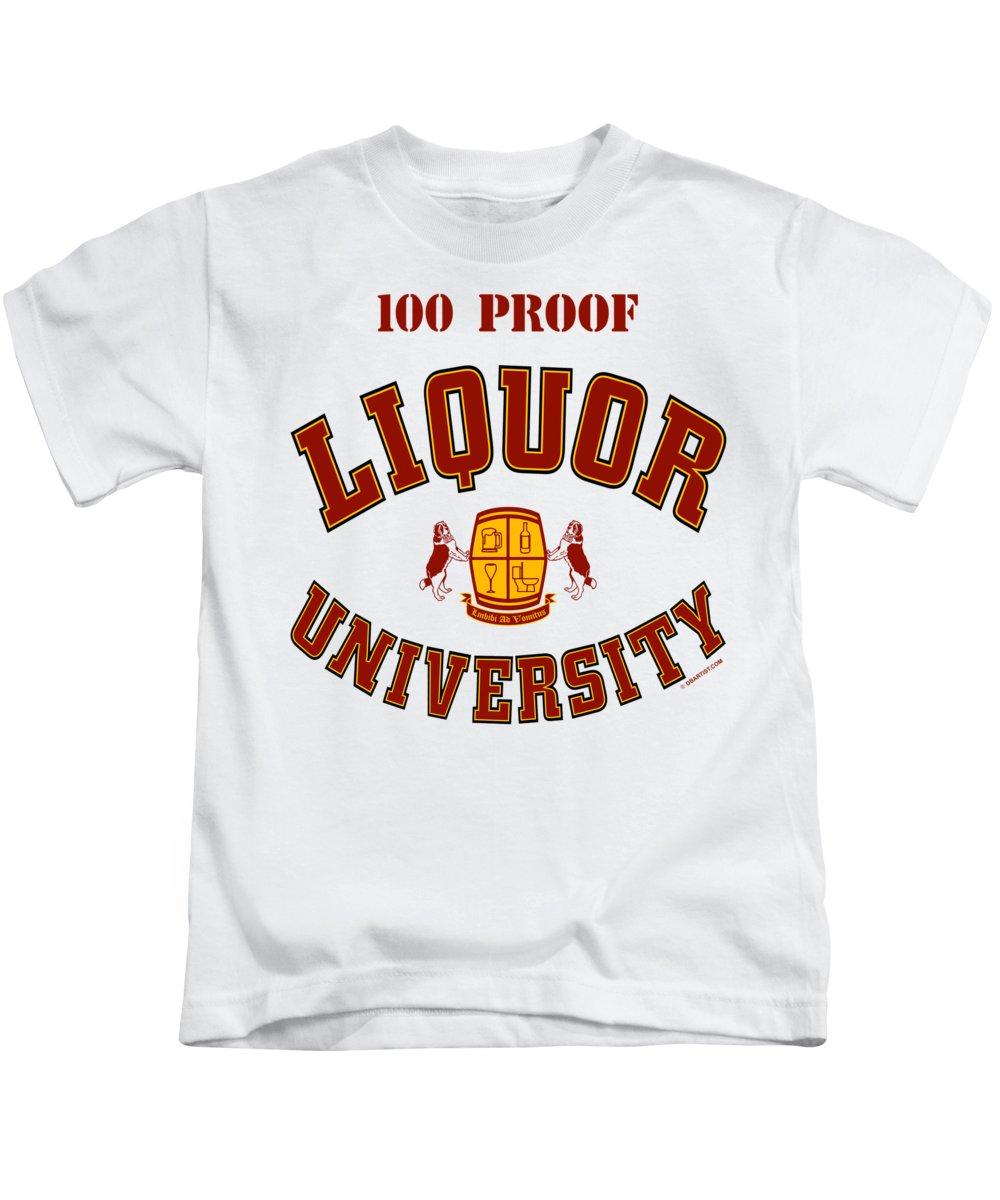 Liquor U Kids T-Shirt featuring the digital art 100 Proof by DB Artist