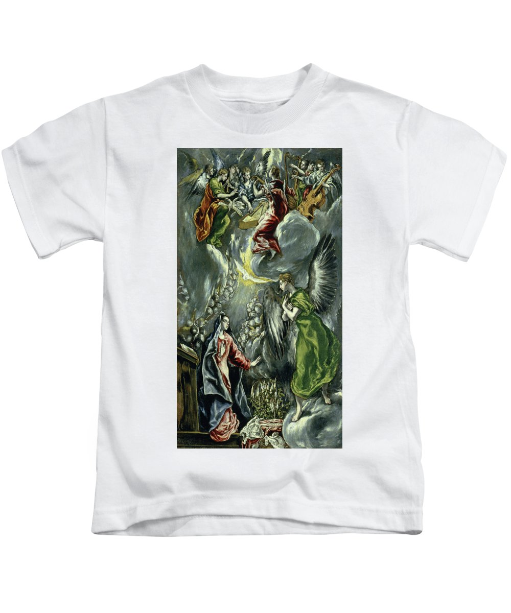 Annunciation Kids T-Shirt featuring the painting The Annunciation by El Greco