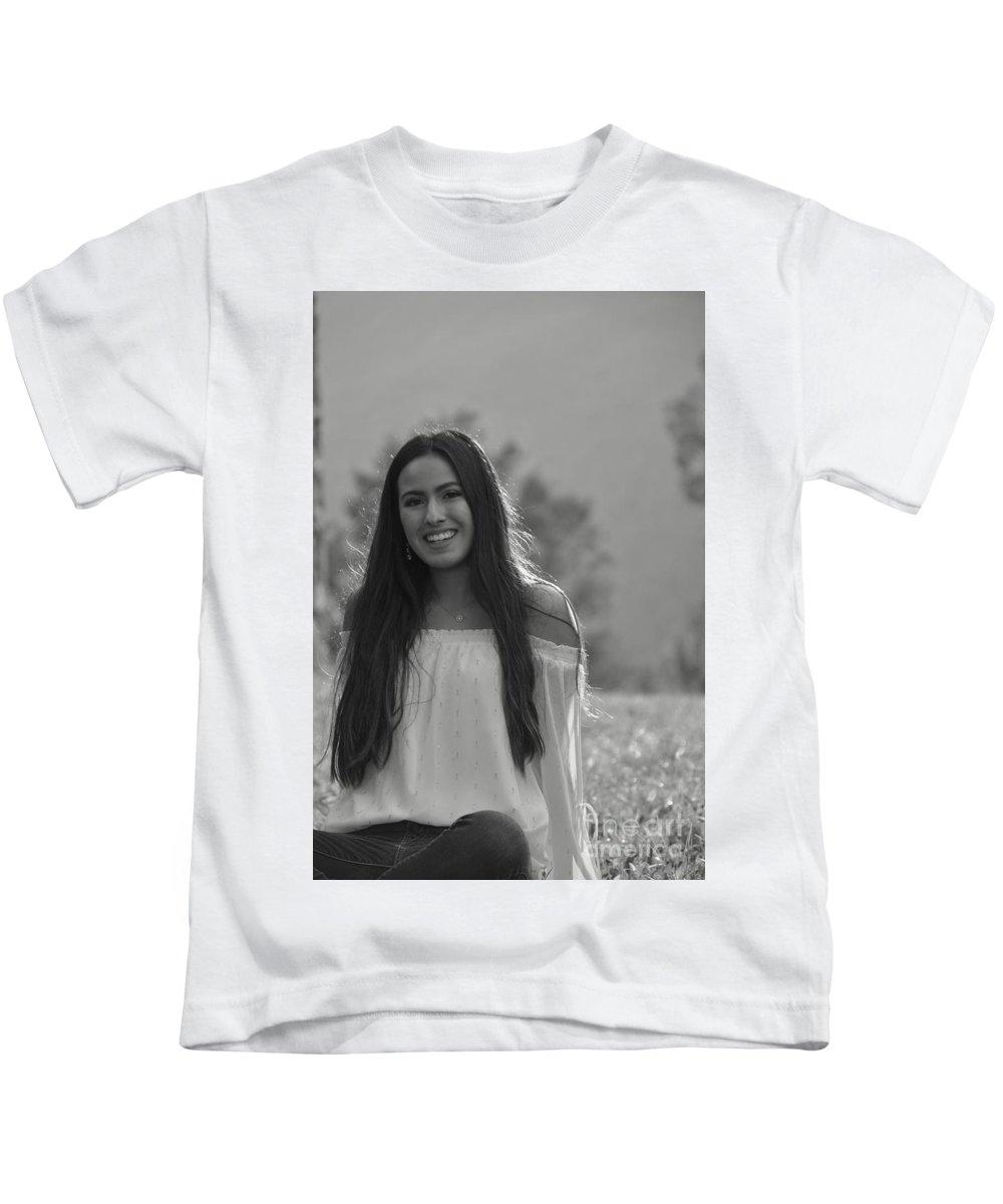 Liz Kids T-Shirt featuring the photograph Golden Hour Senior by Photos By Zulma