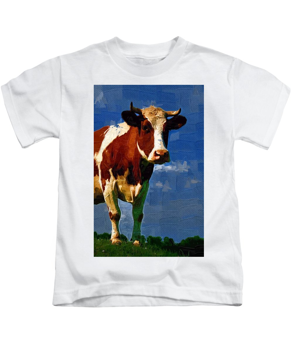 Bull Kids T-Shirt featuring the digital art Bull by Nadezhda Zhuravleva