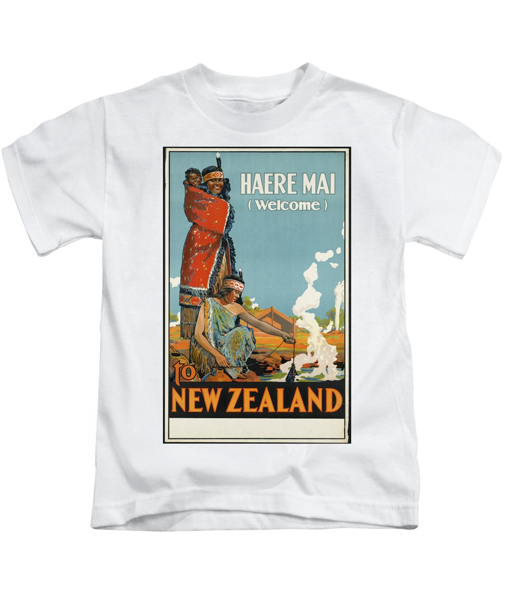 Public-domain-images-free-vintage-posters-0111 Kids T-Shirt featuring the painting Public Domain Images by MotionAge Designs