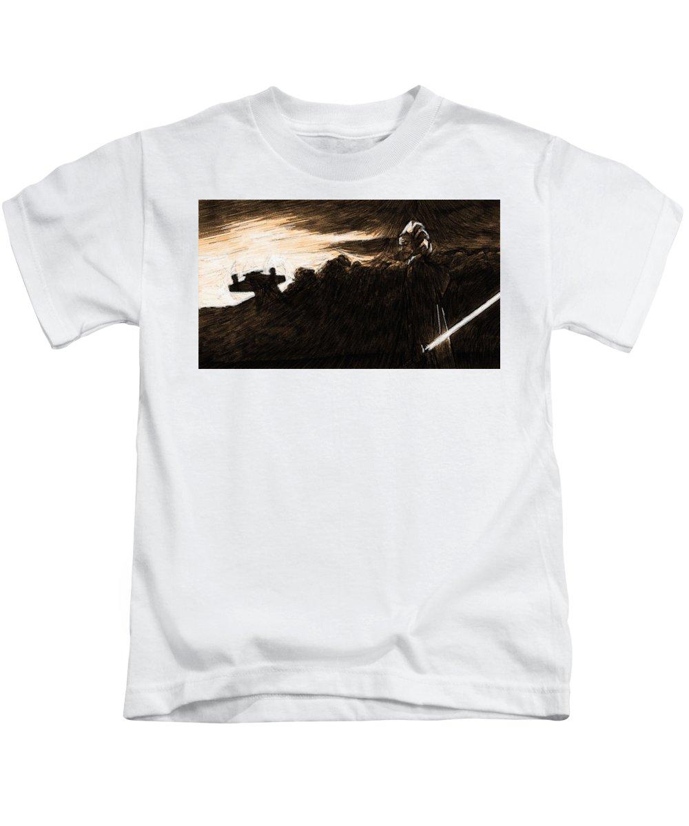 Star Wars Kids T-Shirt featuring the digital art Movie Star Wars Art by Larry Jones
