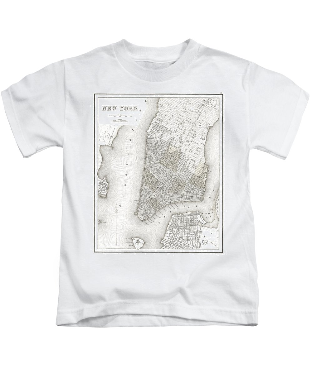 nyc Map Kids T-Shirt featuring the photograph 1839 New York City Map by Daniel Hagerman
