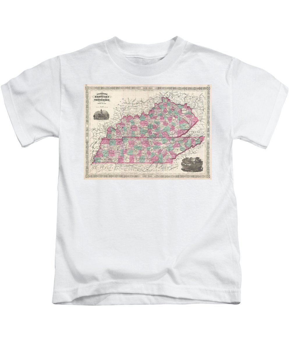 1866 Johnson Map Of Kentucky And Tennessee Kids T-Shirt featuring the photograph 1866 Johnson Map Of Kentucky And Tennessee by Paul Fearn