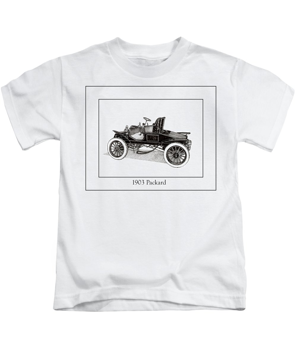 Framed Pen And Ink Images Of Classic Cars. Pen And Ink Drawings Of Vintage Classic Cars. Black And White Drawings Of Cars From The 1930�s Kids T-Shirt featuring the drawing 1903 Packard by Jack Pumphrey