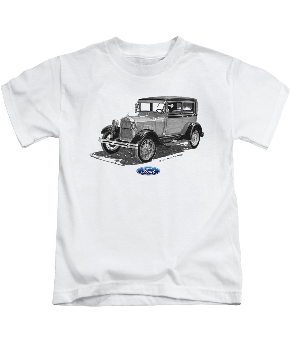 Ford Kids T-Shirt featuring the painting Model A Ford 2 Door Sedan by Jack Pumphrey