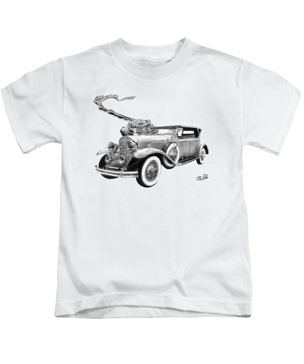 1929 Cadillac Kids T-Shirt featuring the drawing 1929 Cadillac by Peter Piatt