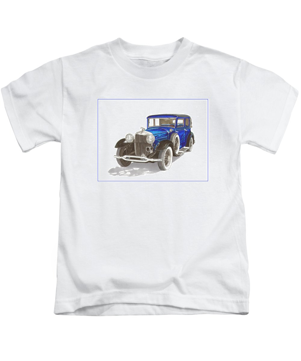 Framed Prints Of Classic Lincolns. Framed Canvas Prints Of Lincolns From The 1930's. Framed Prints Of Great American Classic Cars. Framed Canvas Prints Of Gangster Movie Cars. Kids T-Shirt featuring the painting 1930 Lincoln L Berline by Jack Pumphrey