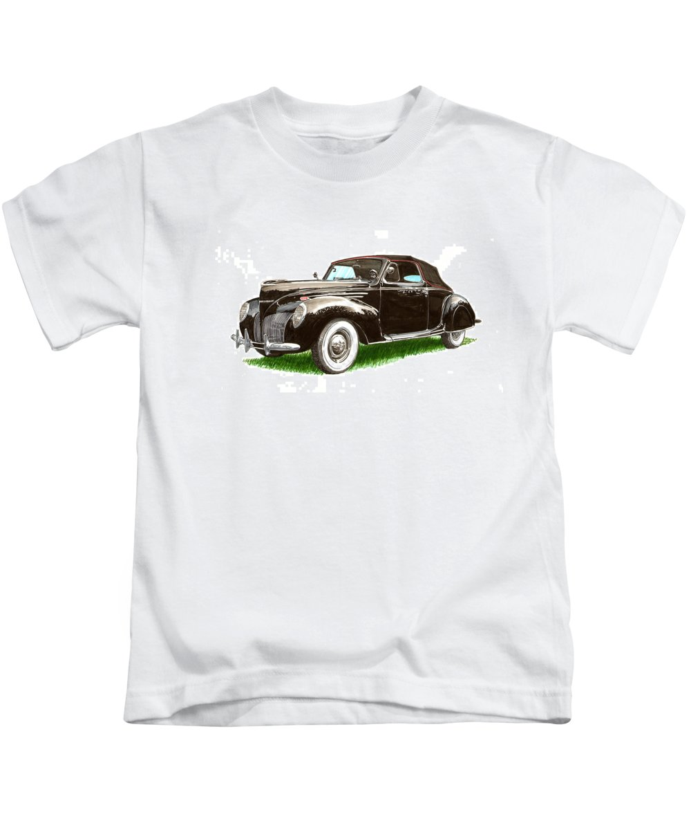 Black Convertibles Kids T-Shirt featuring the painting 1937 Lincoln Zephyer by Jack Pumphrey