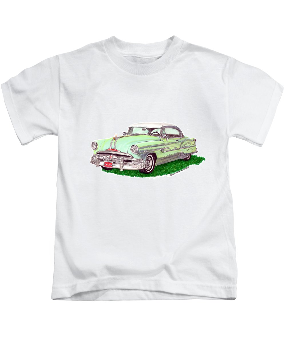Automotive Art Of Cars From The 50's Kids T-Shirt featuring the painting 1953 Pontiac Chieftain Catalina H.t. by Jack Pumphrey