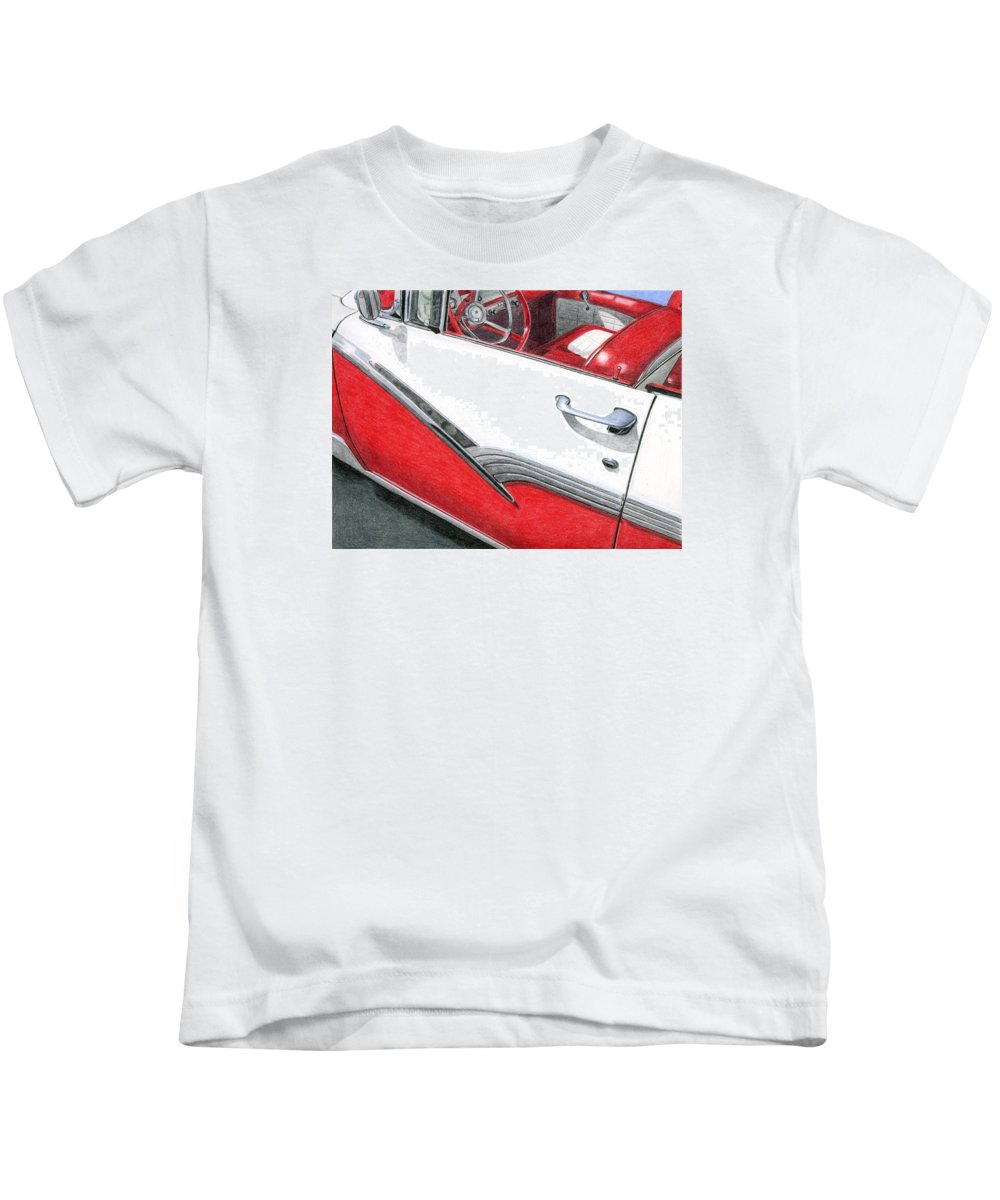 Americana Kids T-Shirt featuring the drawing 1956 Ford Fairlane Convertible 2 by Rob De Vries