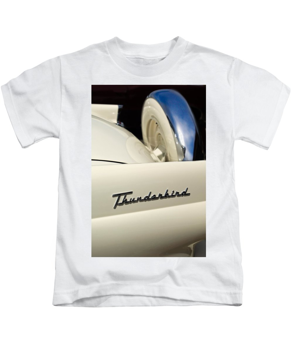 Car Kids T-Shirt featuring the photograph 1956 Ford Thunderbird Spare Tire by Jill Reger