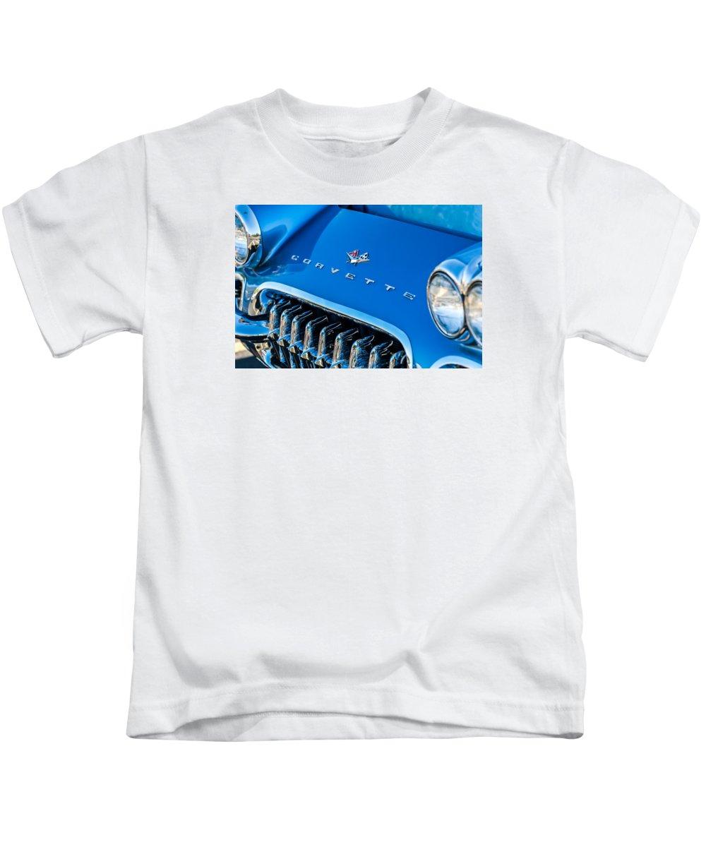 1961 Chevrolet Corvette Zob Kids T-Shirt featuring the photograph 1961 Chevrolet Corvette Zob Grille by Jill Reger
