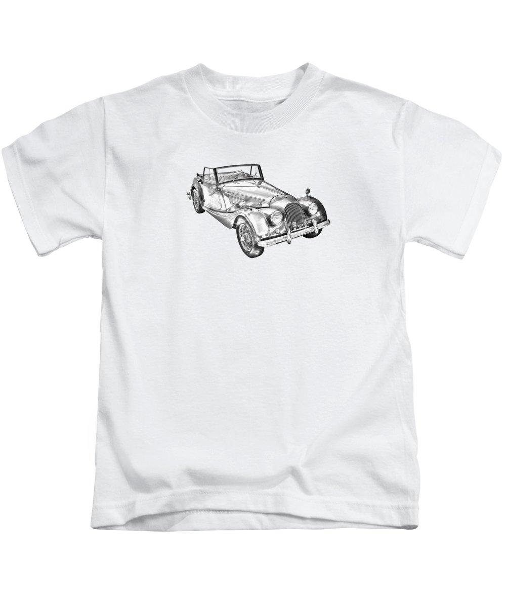 Morgan Plus 4 Kids T-Shirt featuring the photograph 1964 Morgan Plus 4 Convertible Sports Car Illustration by Keith Webber Jr
