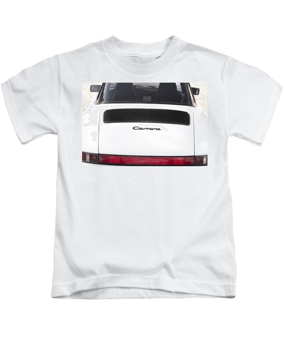 1987 Kids T-Shirt featuring the photograph 1987 White Porsche 911 Carrera Back by James BO Insogna