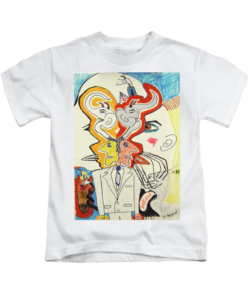 1991 Kids T-Shirt featuring the drawing 1991 - In Motion by Robert SORENSEN
