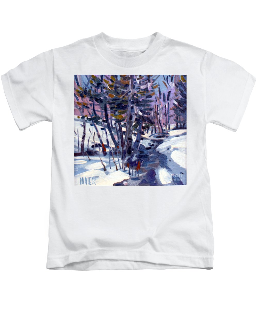 Plein Air Kids T-Shirt featuring the painting Aspen in the Snow by Donald Maier