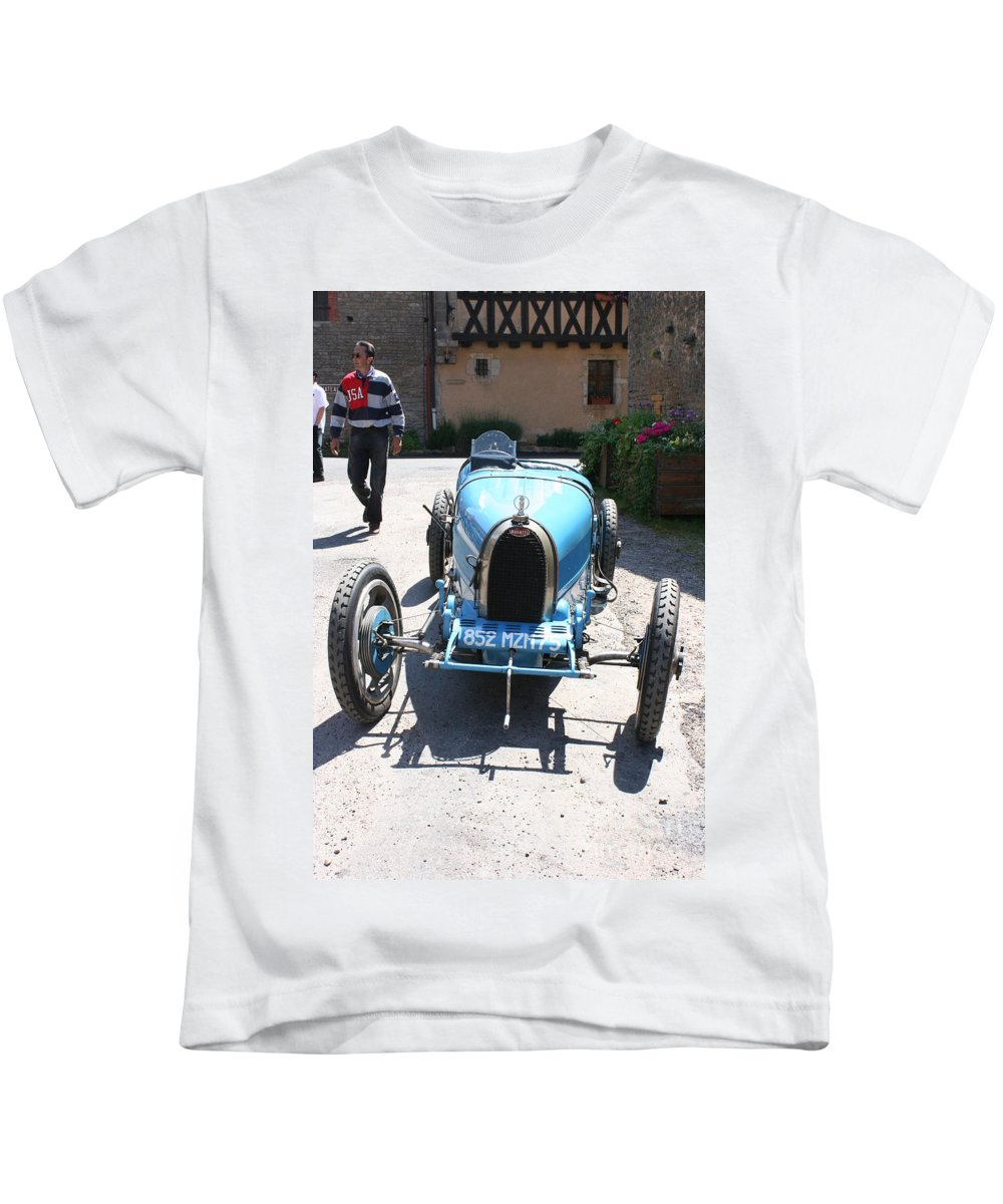 Oldtimer Kids T-Shirt featuring the photograph Blue Oldtimer by Christiane Schulze Art And Photography