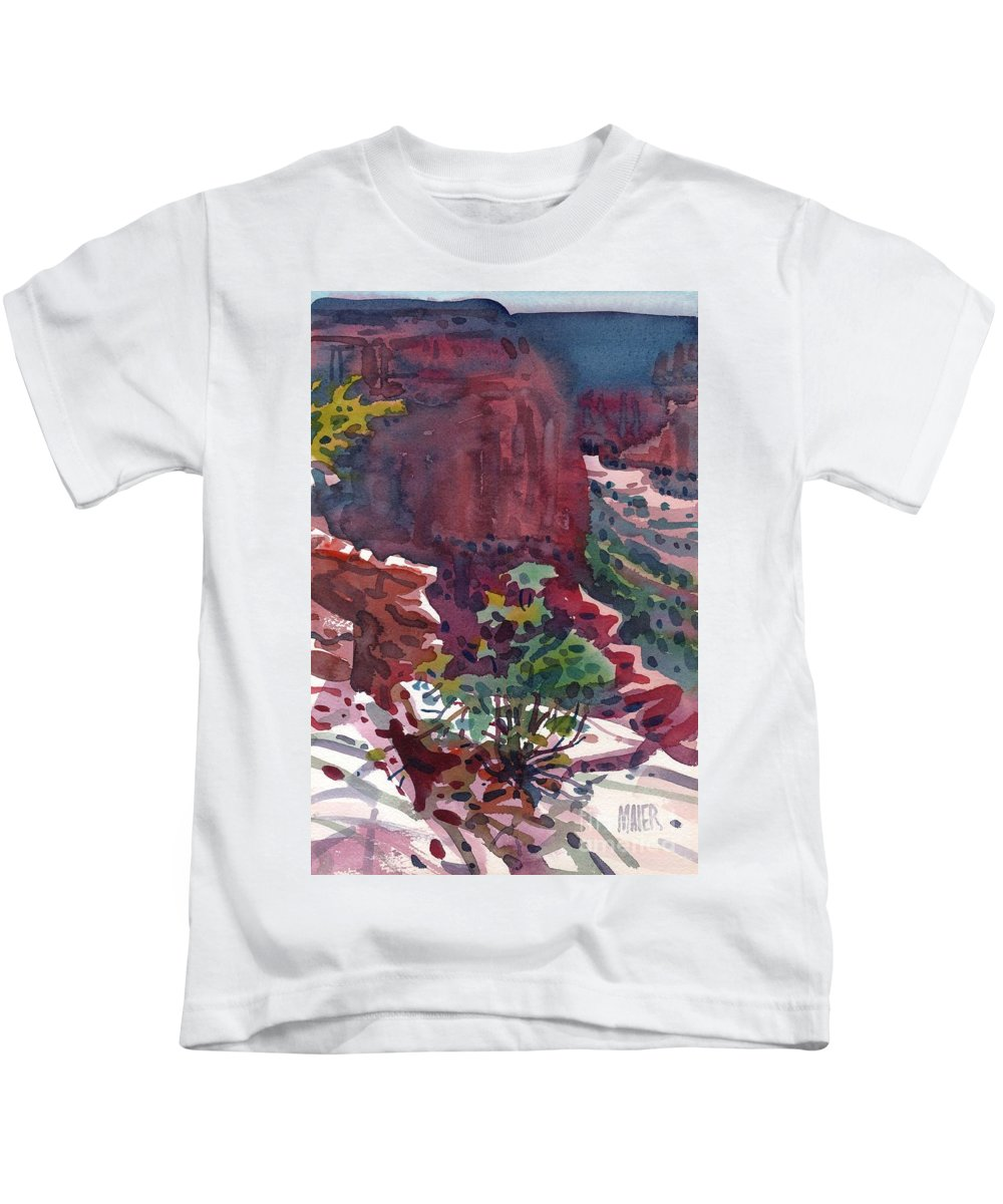 Canyon De Chelly Kids T-Shirt featuring the painting Canyon View by Donald Maier