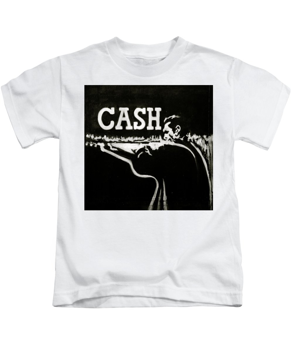 Johnny Cash Kids T-Shirt featuring the painting Cash by Pete Maier