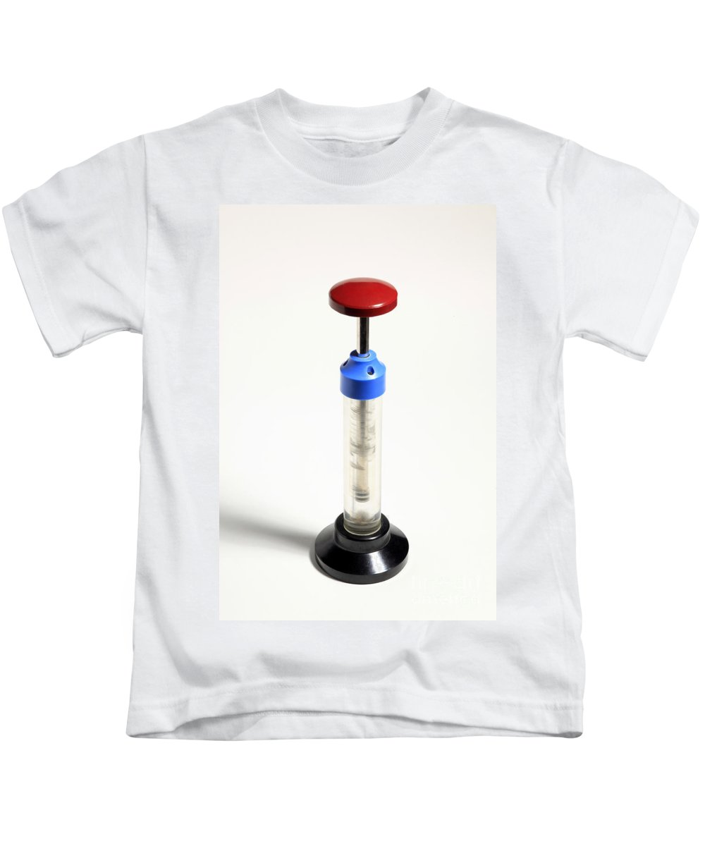 Internal Combustion Kids T-Shirt featuring the photograph Diesel Engine Compression Demonstration by Ted Kinsman
