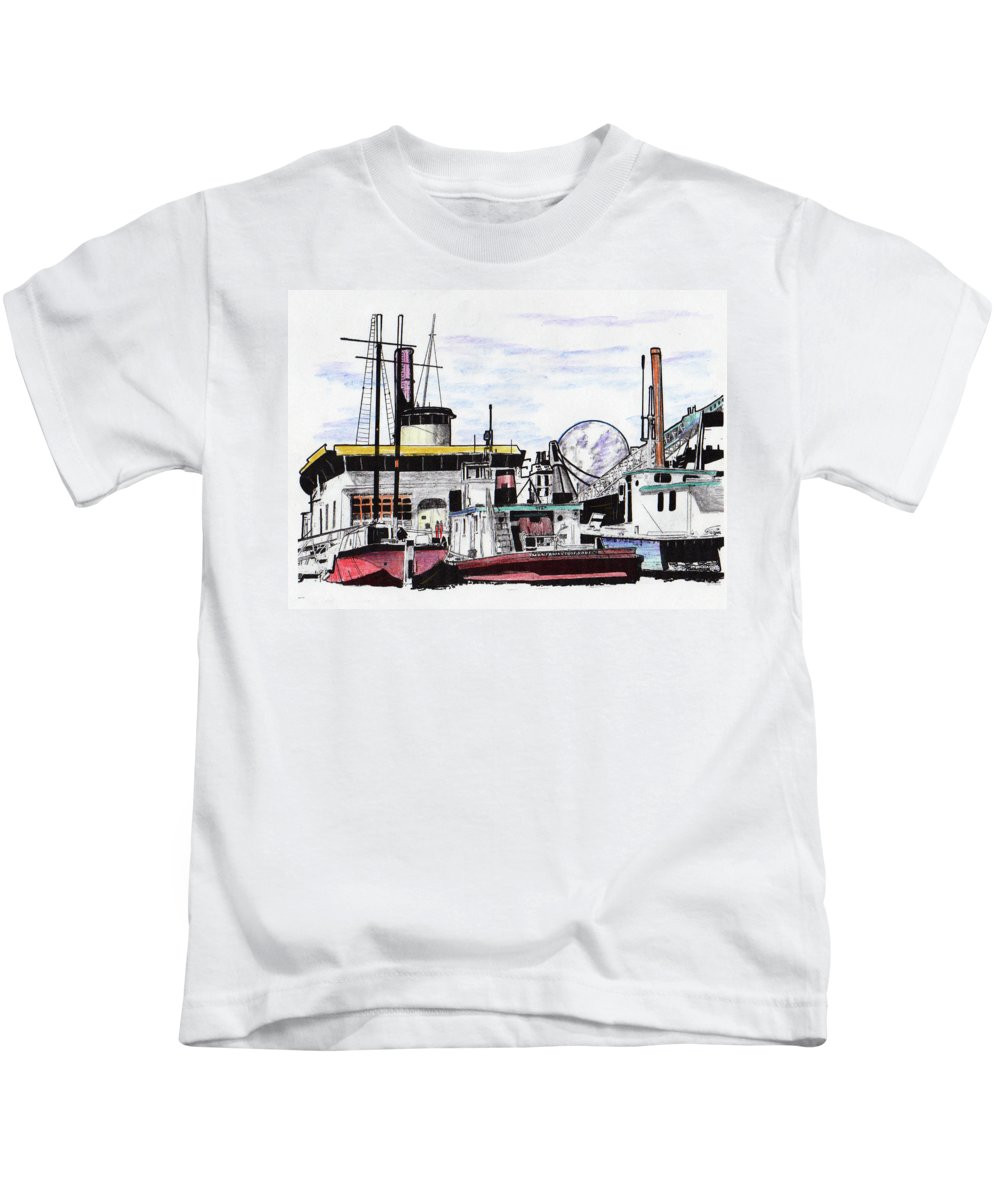 Boats Kids T-Shirt featuring the drawing Docks by Keith Spence