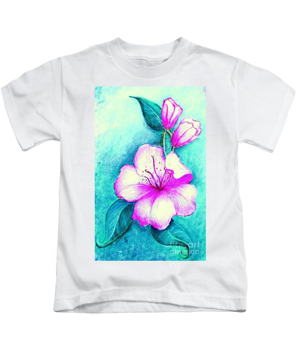 Flowers Kids T-Shirt featuring the painting Fantasy Flowers by Hazel Holland