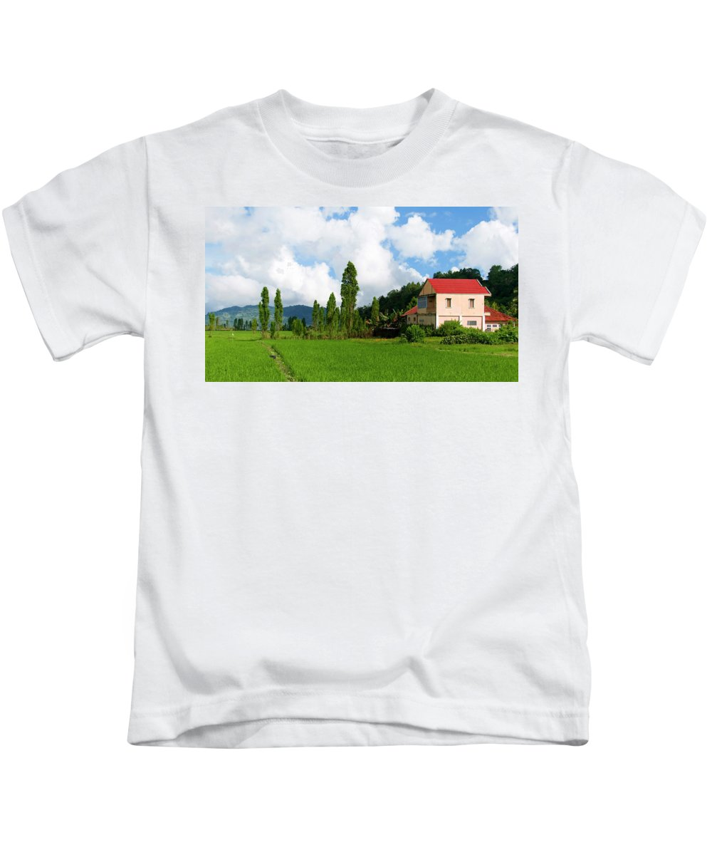 Farm House Kids T-Shirt featuring the photograph Farm House by Charuhas Images