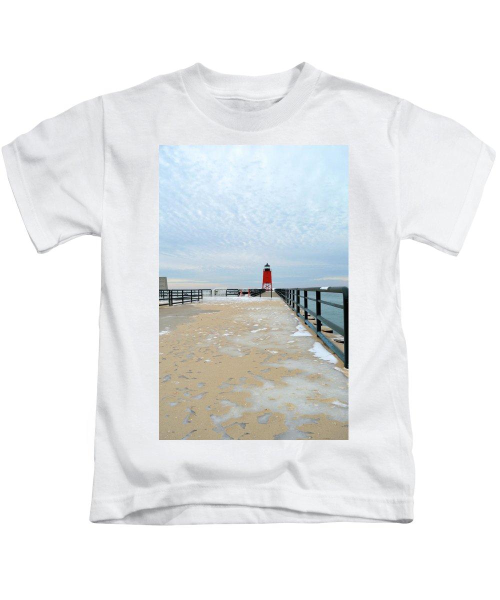 Charlevoix South Pier Lighthouse Kids T-Shirt featuring the photograph Long Walk by Linda Kerkau