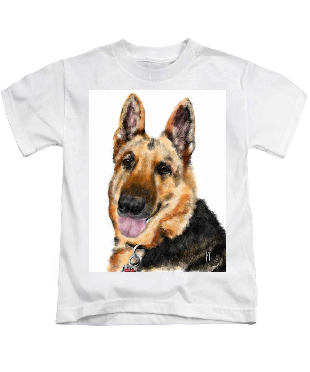 Animals Kids T-Shirt featuring the painting Man's Best Friend by Lois Ivancin Tavaf