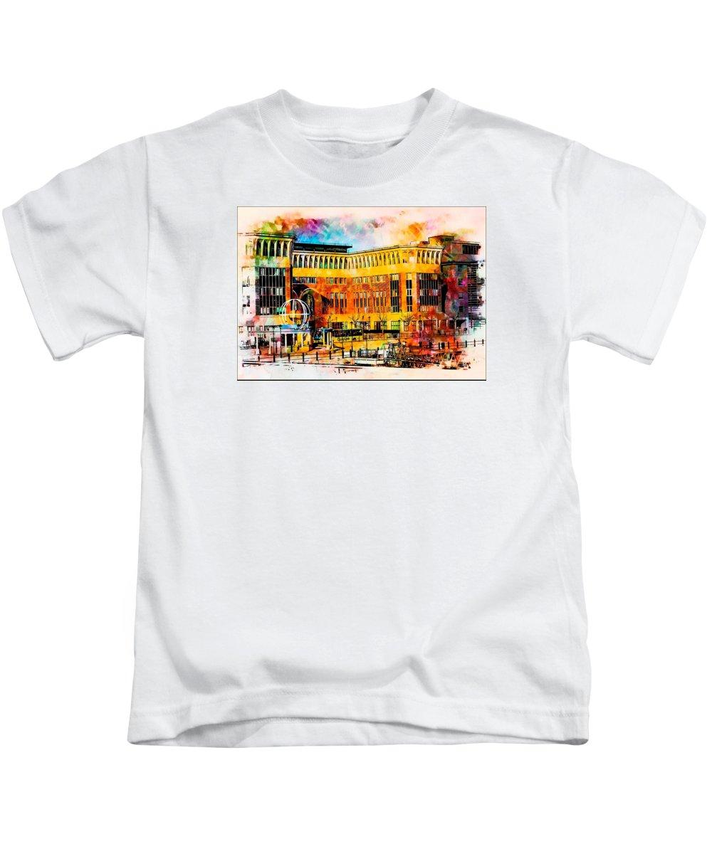 Quayside Kids T-Shirt featuring the digital art Newcastle Quayside by John Lynch