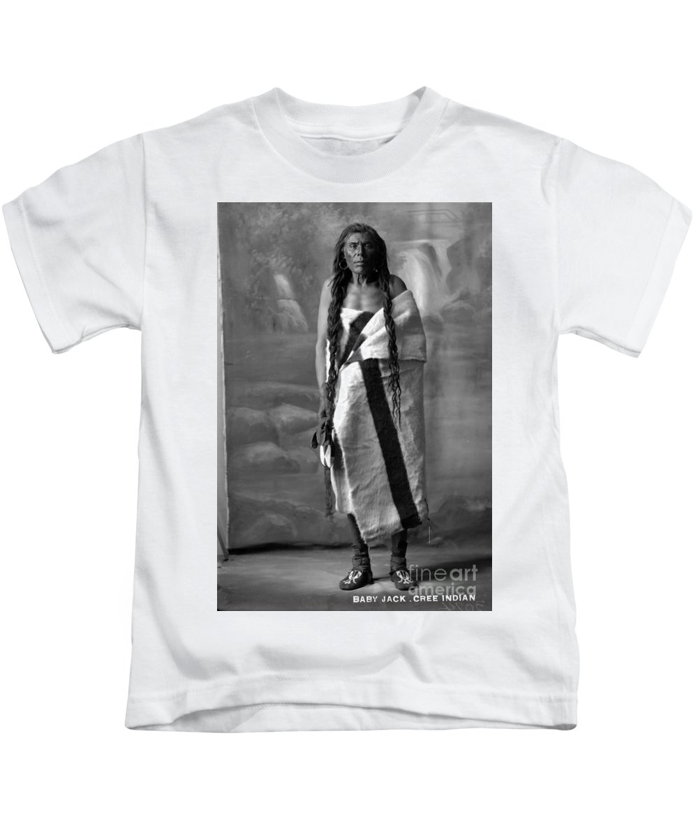 Howard King Kids T-Shirt featuring the painting Portrait Of Cree Indian Warrior by MotionAge Designs
