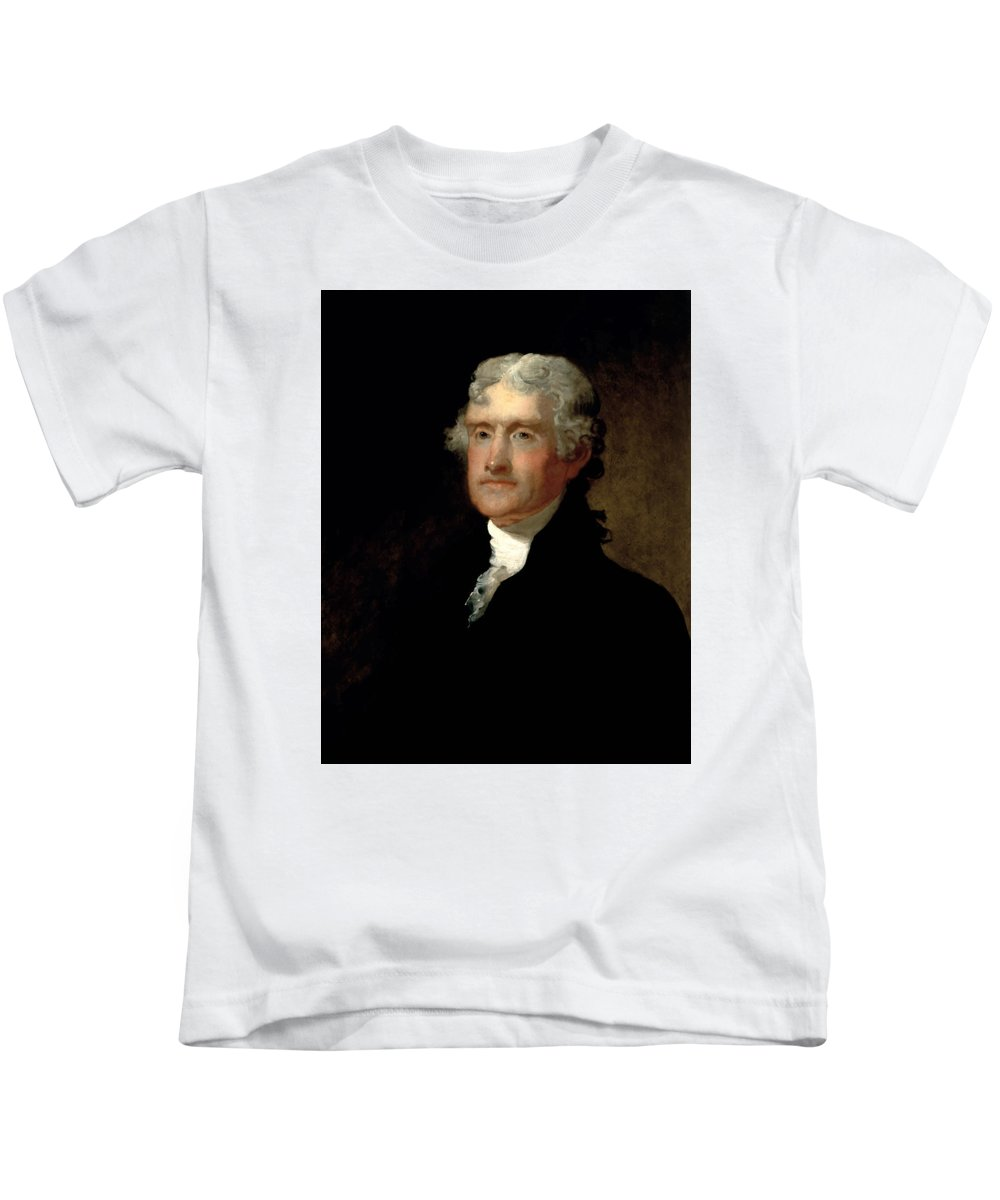 Thomas Jefferson Kids T-Shirt featuring the painting President Thomas Jefferson by War Is Hell Store