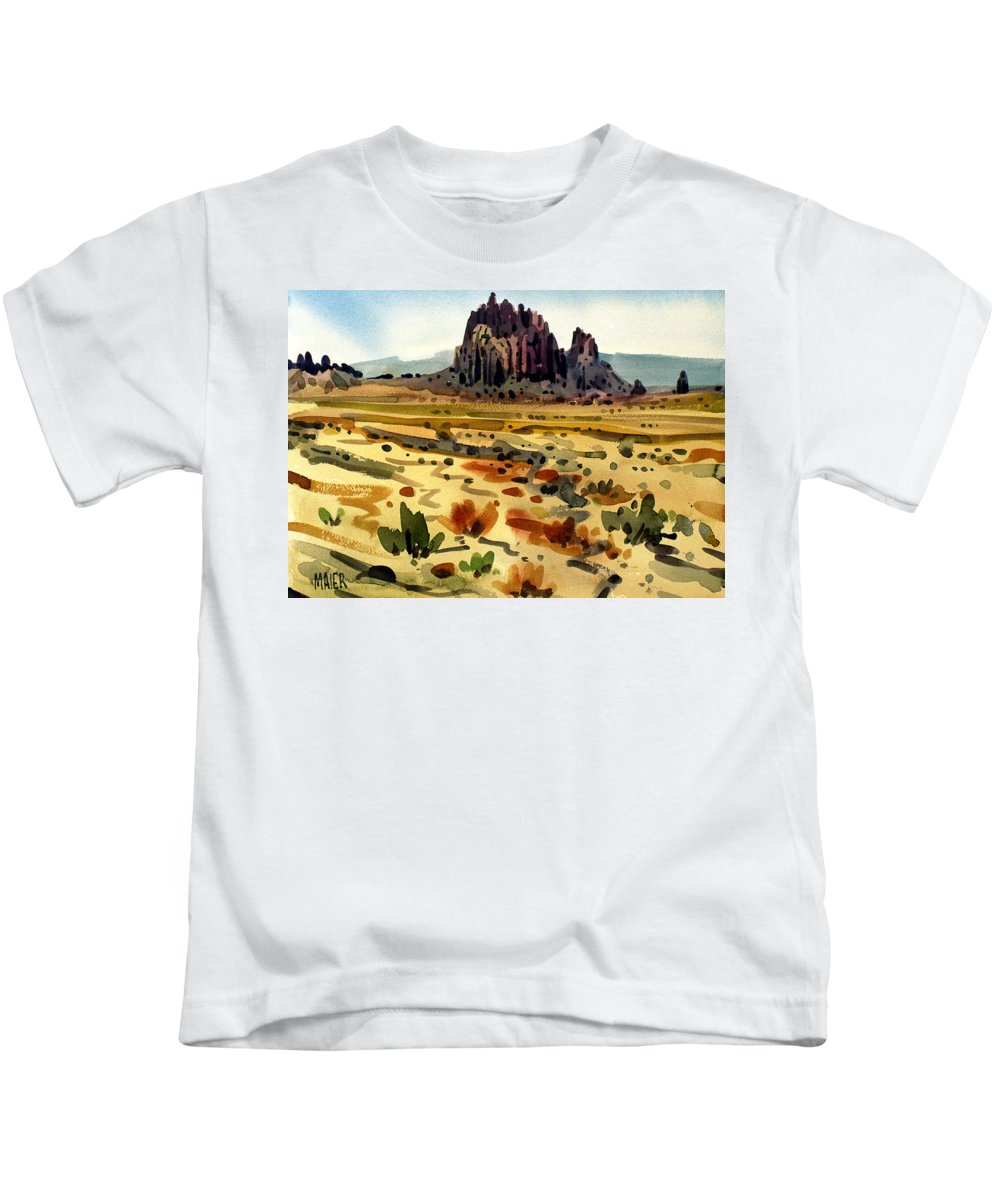 Shiprock Kids T-Shirt featuring the painting Shiprock by Donald Maier