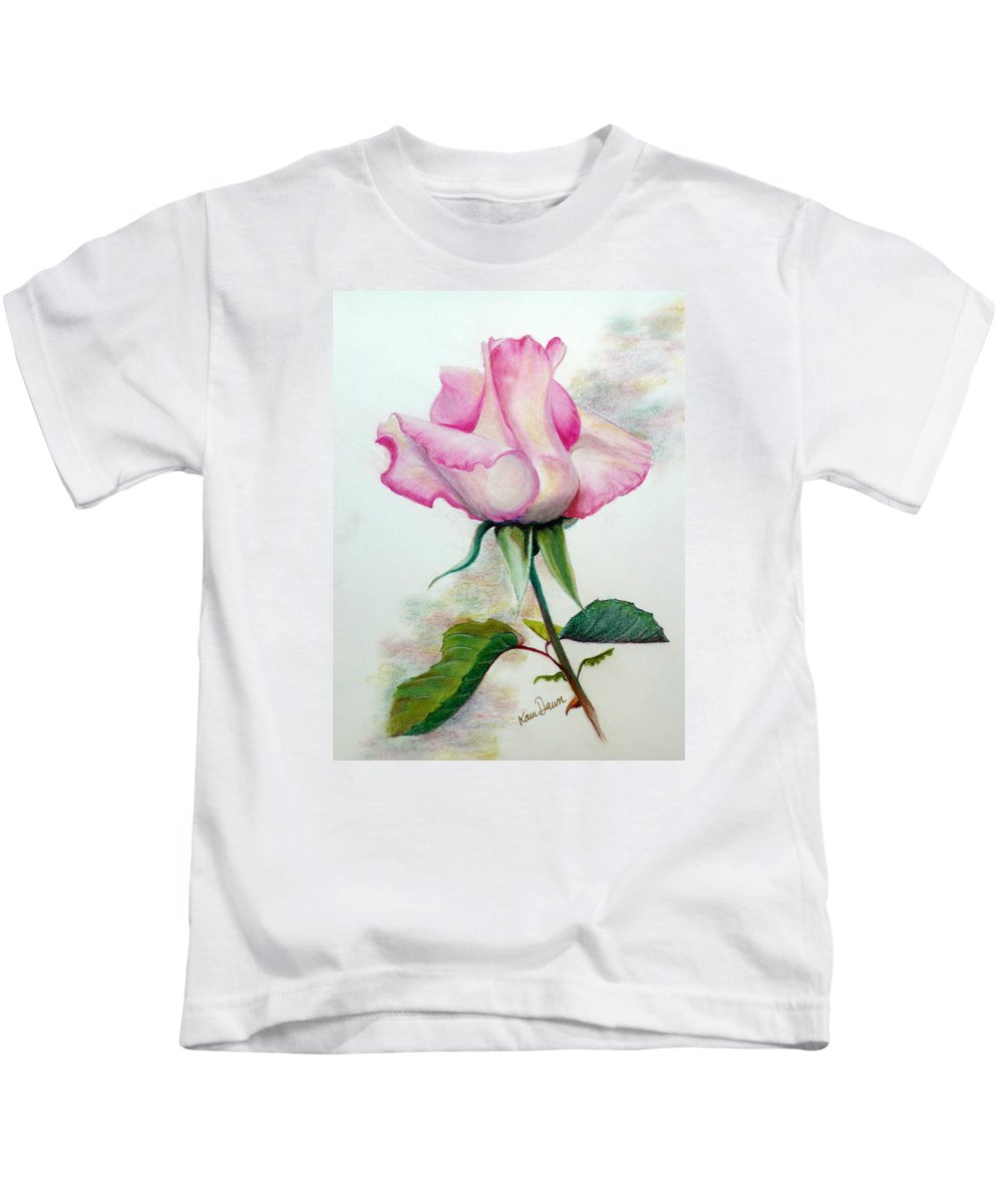 Rose Pastel Paintings Kids T-Shirt featuring the pastel So Pink by Karin Dawn Kelshall- Best