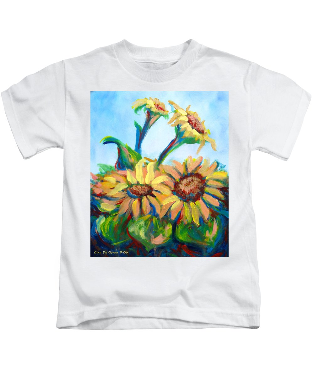 Sunflowers Kids T-Shirt featuring the painting Sunflowers 2 by Gina De Gorna