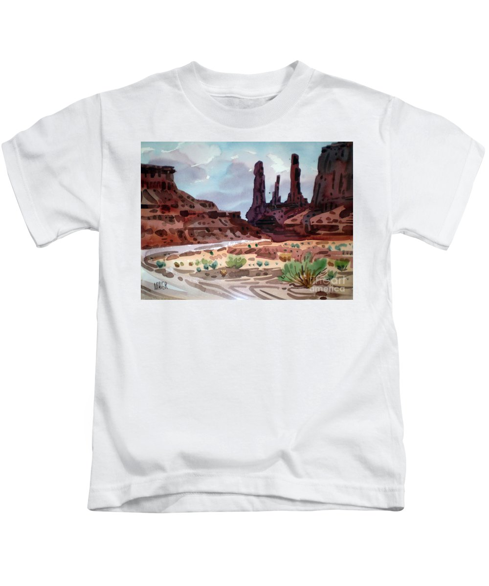 Monument Valley Kids T-Shirt featuring the painting Three Sisters by Donald Maier